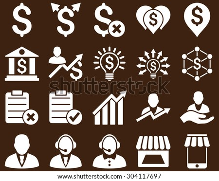 Trade business and bank service icon set. These flat icons use white color. Images are isolated on a brown background. Angles are rounded. - stock vector