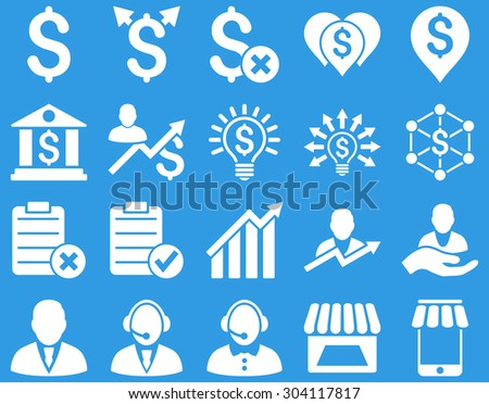 Trade business and bank service icon set. These flat icons use white color. Images are isolated on a blue background. Angles are rounded. - stock vector