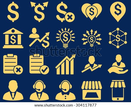 Trade business and bank service icon set. These flat icons use yellow color. Images are isolated on a blue background. Angles are rounded. - stock vector