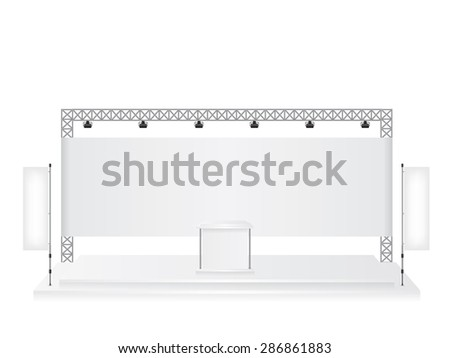 Trade exhibition stand and flag banner - stock vector