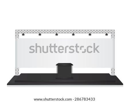 Trade exhibition stand black - stock vector