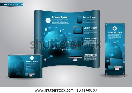 Trade exhibition stand display With roll up banner, Technology computer business concept, Vector illustration modern template design - stock vector