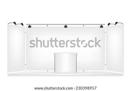 Trade exhibition stand on white background - stock vector