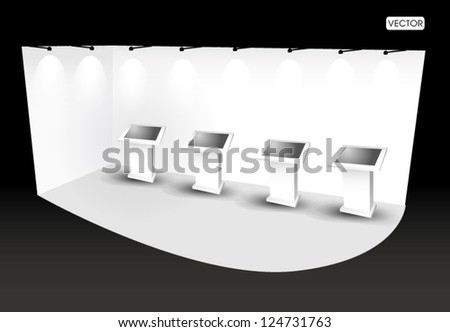 trade show booth with monitor - stock vector