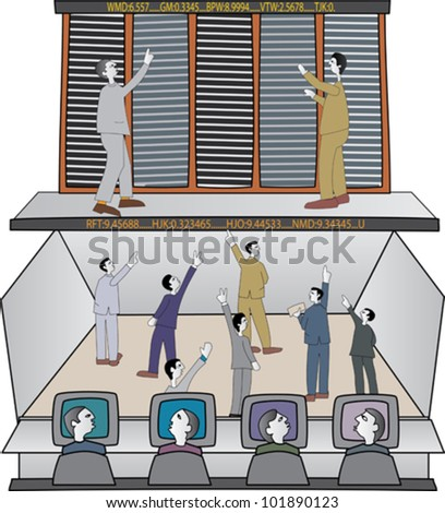 Traders on stock exchange trading floor - stock vector