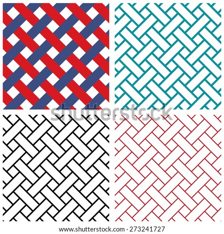 Tradition india weave line vector pattern in many 3 size line - stock vector