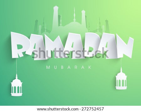 Traditional arabic lamps or lanterns hanging by paper text Ramadan Mubarak on islamic mosque silhouette, shiny green background. - stock vector
