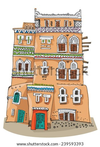 Traditional architecture in Sana'a, Yemen - cartoon - stock vector