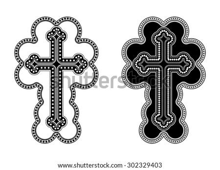 Traditional Armenian Apostolic Church cross clip art. Vector illustration - stock vector