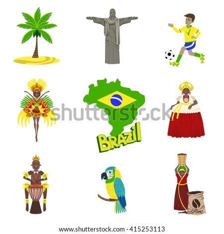 Traditional Brazilian Symbols With People  Flat Isolated Icons Set Of Colorful Vector Design Illustrations - stock vector