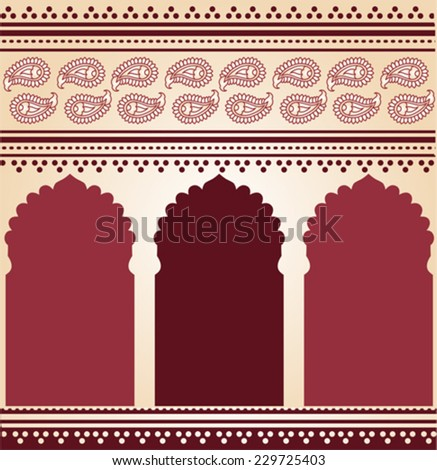 Traditional burgundy Indian paisley temple background - stock vector