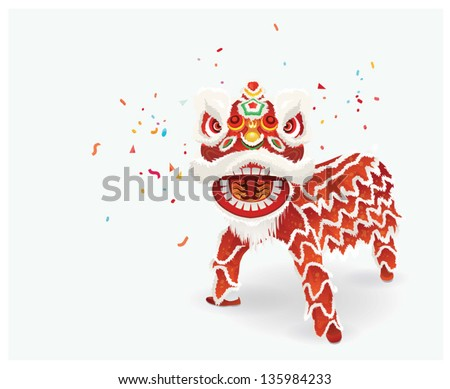 Chinese Lion Dance Vector Traditional Chinese Lion Dance