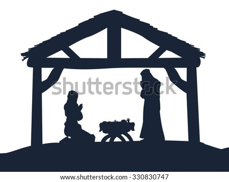 Traditional Christian Christmas Nativity Scene of baby Jesus in the manger with Mary and Joseph in silhouette - stock vector