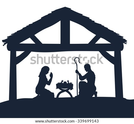 Traditional Christmas Nativity Scene of baby Jesus in the manger with Mary and Joseph in silhouette - stock vector
