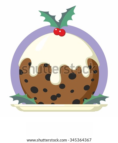 Traditional Christmas Pudding with Holly on Plate - cartoon - stock vector