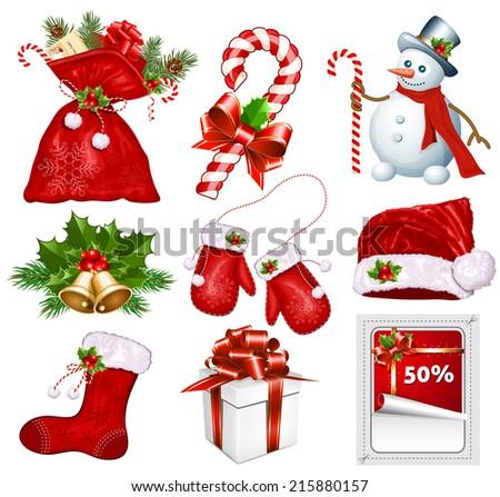 Traditional Christmas symbols. Vector illustration. - stock vector