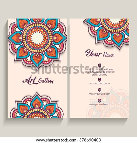 Traditional creative floral design decorated, Vertical Business Card, Name Card or Visiting Card set with front and back presentation. - stock vector