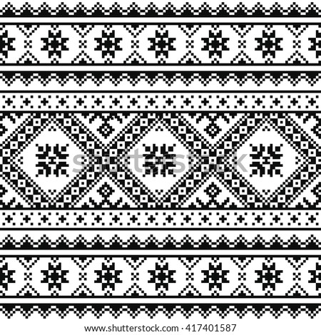 Traditional folk knitted red embroidery pattern from Ukraine or Belarus  - stock vector