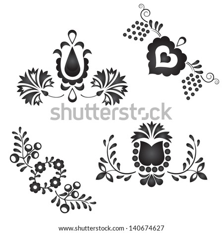 Traditional folk ornaments isolated on white background - stock vector
