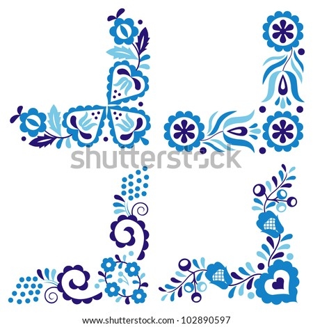 Traditional folk patterns isolated on white background - stock vector