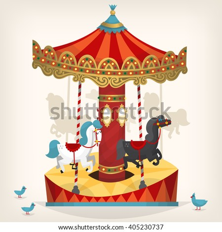 Traditional funfair amusement horse ride vector illustration.  - stock vector