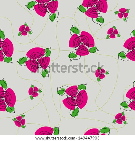 traditional handmade folk seamless floral background with red roses for textile design,  and high quality print - stock vector