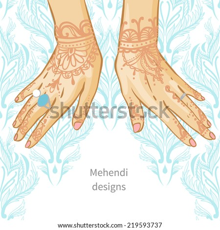 Traditional henna ornament on women hands. Vector illustration - stock vector