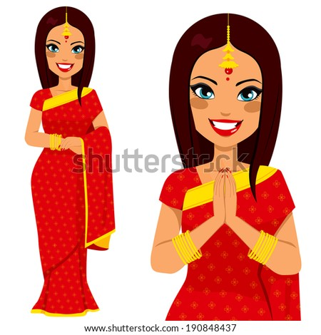 Traditional Indian woman holding hands in prayer position and full body pose - stock vector