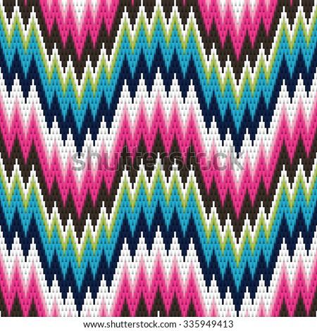 Traditional Italian embroidery design. Colorful seamless geometric zigzag pattern. - stock vector