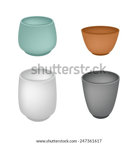 Traditional Japan, Illustration Collection of Yunomi or Japanese Ceramic Tea Cup for Daily Tea Drinking.  - stock vector