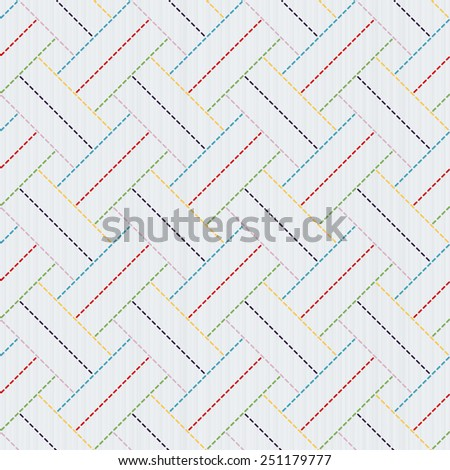 Traditional Japanese Embroidery Ornament. Sashiko motif - colorful weaving. Abstract backdrop. Needlework texture. Seamless vector pattern.  For decoration or printing on fabric. Pattern fills. - stock vector