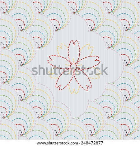 Traditional Japanese Embroidery Ornament with sakura flower.  Colorful round sashiko motif. Abstract arc backdrop. Needlework texture. Vector. Can be used as seamless pattern. - stock vector