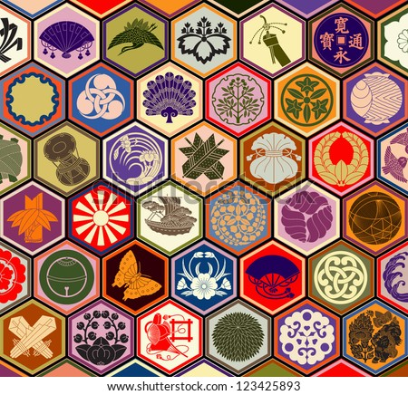 Traditional Japanese family crests in a hexagonal grid layout - stock vector