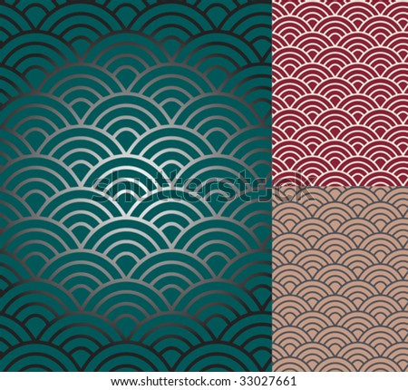 Traditional japanese ornamental pattern- seigaiha. Vector format - stock vector
