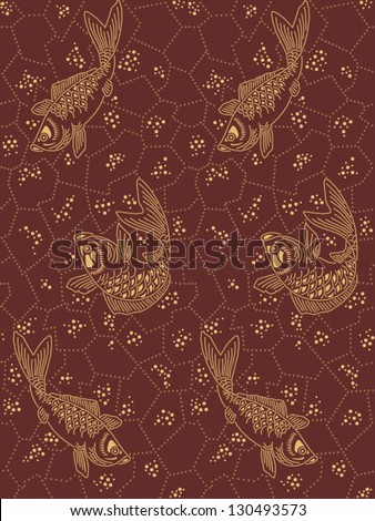 Traditional japanese seamless pattern background with the fishes - stock vector