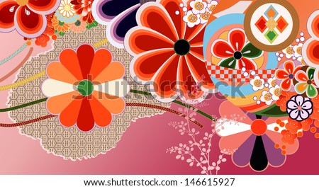 Traditional kimono design elements - stock vector