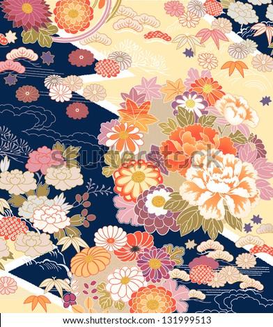 traditional kimono motifs - stock vector