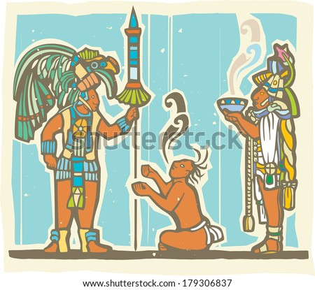 Traditional Mayan Mural image of a Mayan Warrior, sacrifice and priest. - stock vector