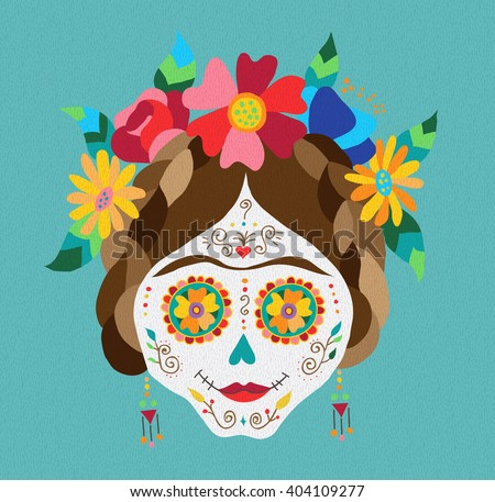 Traditional mexican catrina skull with paint decoration and colorful spring time flower arrangement on hair. EPS10 vector. - stock vector