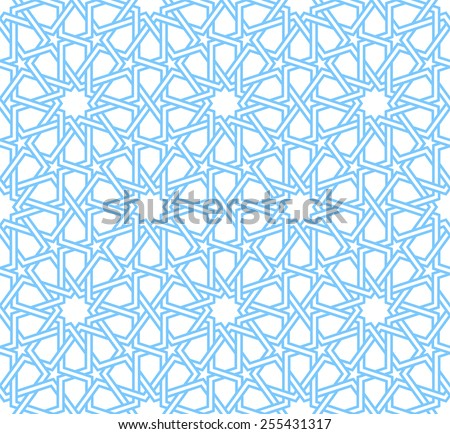 Traditional moorish tangled pattern in blue and white. Seamless vector background. Plain colors - easy to recolor. - stock vector