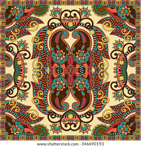 Traditional ornamental floral paisley bandanna. Square ornament. You can use this pattern in the design of carpet, shawl, pillow, cushion, vector illustration - stock vector