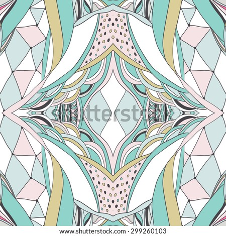 Traditional ornamental paisley bandanna. Hand drawn background with artistic pattern. Pastel colors. Seamless pattern can be used for wallpaper, fills, background - stock vector