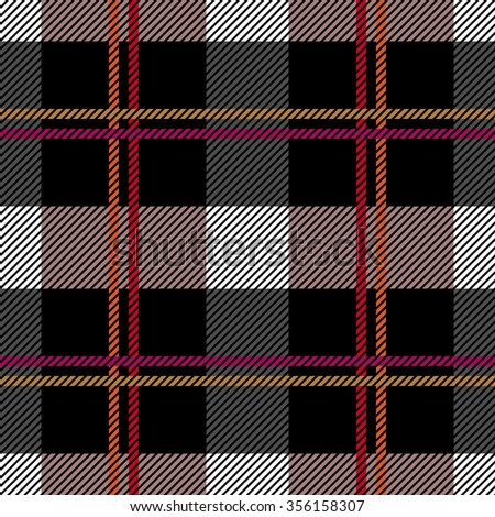 Traditional plaid seamless checkered vector pattern. Retro textile collection. Grey and black. Backgrounds & textures shop - stock vector