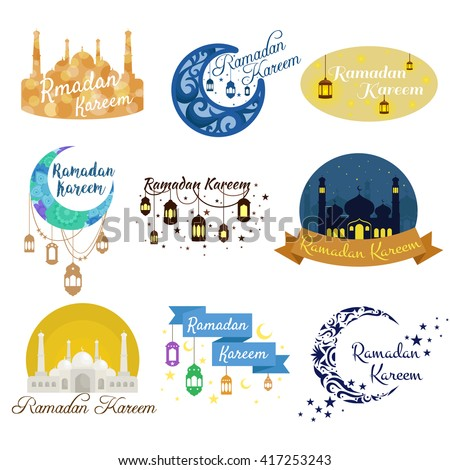 traditional ramadan kareem month celebration greeting card design, holy muslim culture, islamic religion mubarak eid background, islam holiday ramazan vector illustration - stock vector