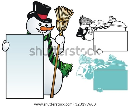 Traditional snowman holding a frame - stock vector