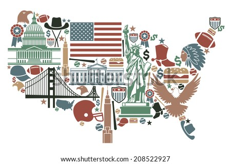 Traditional symbols in the form of a USA map - stock vector