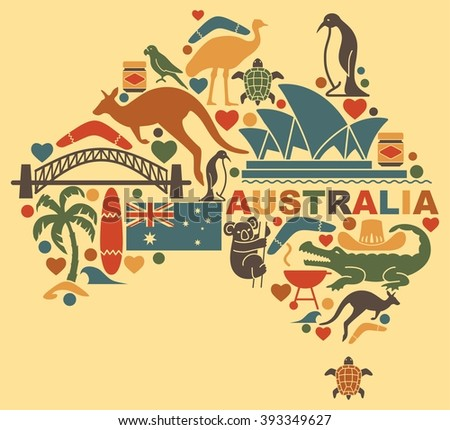 Traditional symbols of Australian culture and nature in the form of a map - stock vector