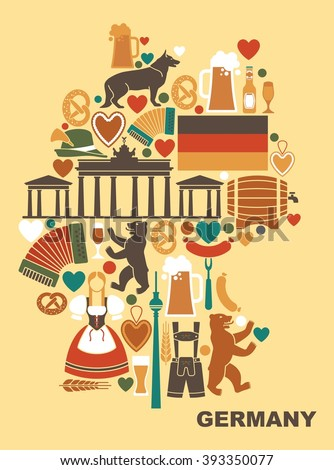 Traditional symbols of culture, architecture and cuisine of Germany in the form of a map.  - stock vector