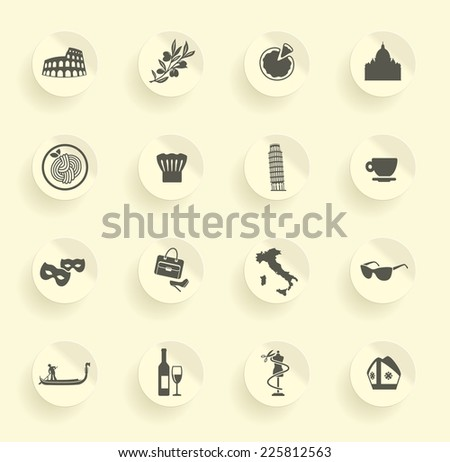 Traditional symbols of Italy - stock vector