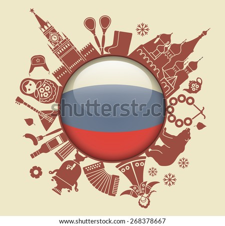 Traditional symbols of Russia in the form of a circle - stock vector